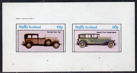 Staffa 1982 Cars #2 imperf  set of 2 values (40p & 60p) unmounted mint , stamps on cars