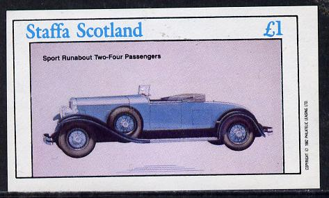 Staffa 1982 Cars #2 imperf souvenir sheet (�1 value)  unmounted mint