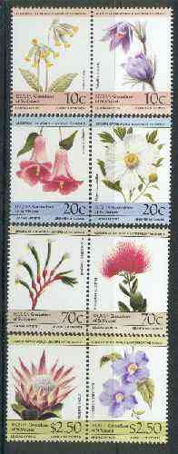 St Vincent - Bequia 1985 Flowers (Leaders of the World) set of 8 unmounted mint