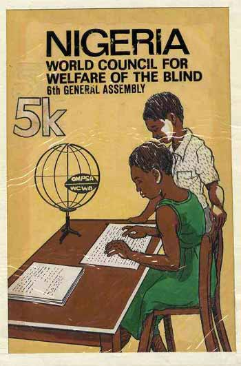 Nigeria 1979 World Council For Welfare For The Blind - original hand-painted artwork for 5k value (Blind Student Reading with Braille) artist unknown on card 5.5 x 8.5 endorsed A3 (similar designs were taken to the machine proof stage but never issued)