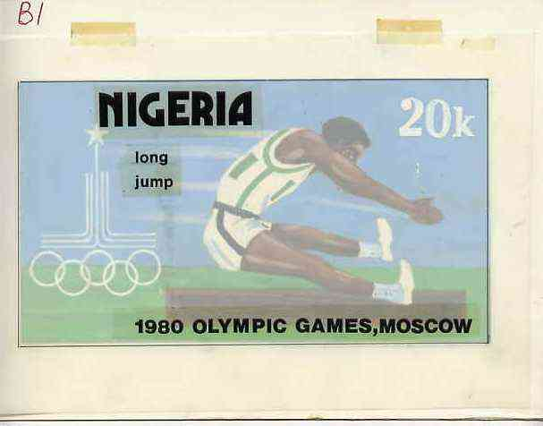 Nigeria 1980 Moscow Olympic Games - original hand-painted artwork for 20k value (Long Jump) by Godrick N Osuji on card 7.25 x 4 endorsed B1