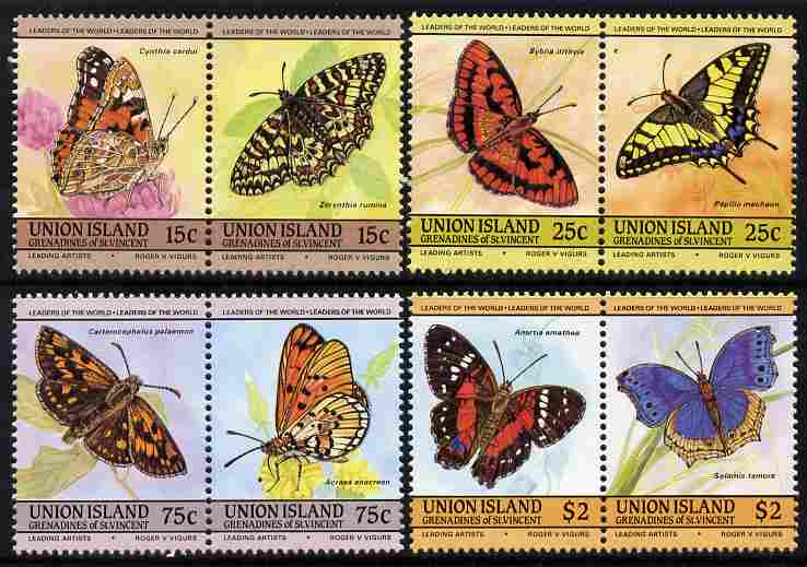 St Vincent - Union Island 1985 Butterflies (Leaders of the World) set of 8 unmounted mint