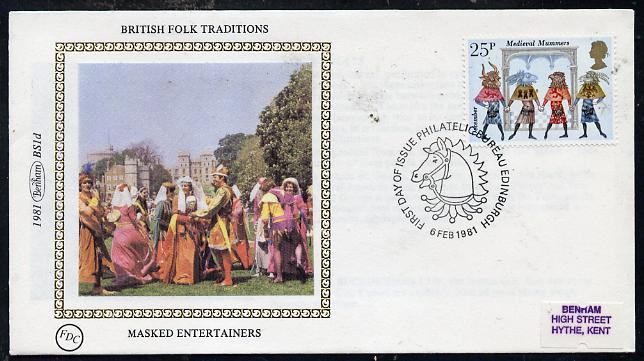 Great Britain 1981 Folklore 25p (Medieval Mummers) on Benham small silk cover with special first day cancel