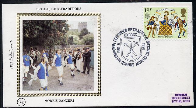 Great Britain 1981 Folklore 18p (Morris Dancers) on Benham small silk cover with special first day cancel