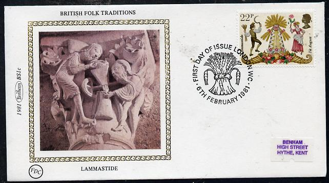 Great Britain 1981 Folklore 22p (Lammastide) on Benham small silk cover with special first day cancel
