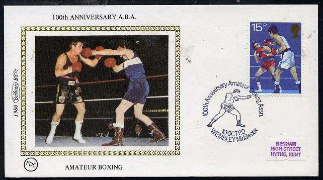 Great Britain 1980 Sport Centenaries 15p (Boxing) on Benham small silk cover with special first day cancel