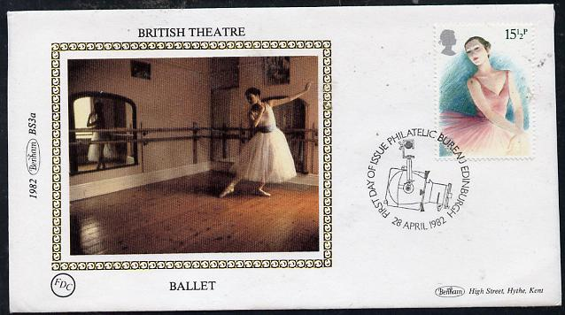 Great Britain 1982 Europa (British Theatre) 15.5p (Ballet) on Benham small silk cover with special first day cancel