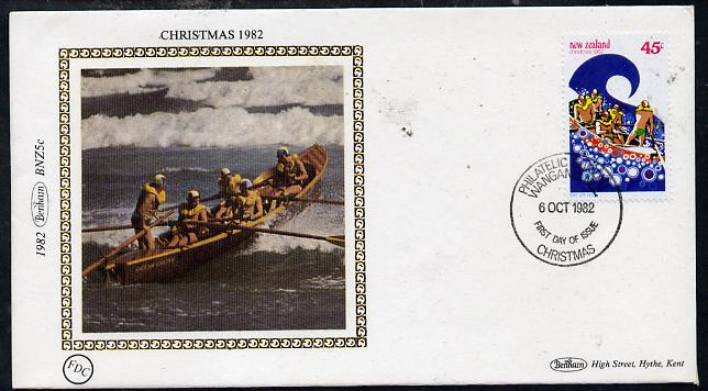 New Zealand 1982 Christmas 45c (Life Saving) on Benham small silk cover with special first day cancel