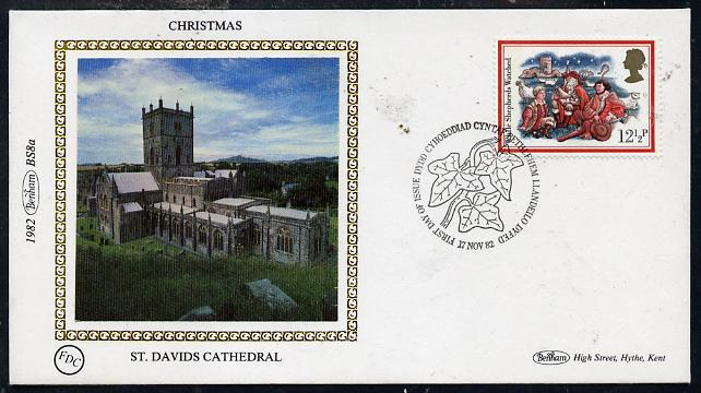 Great Britain 1982 Christmas 12.5p (While Shepherds Watched) on Benham small silk cover (St David's Cathedral) with special first day cancel