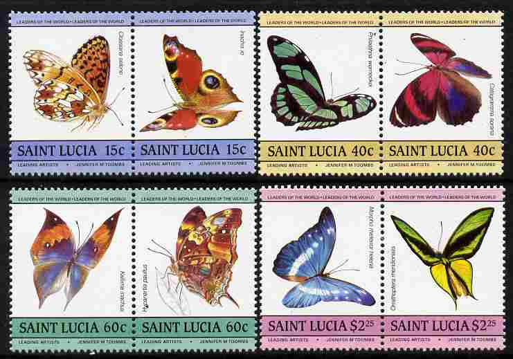 St Lucia 1985 Butterflies (Leaders of the World) set of 8 (SG 781-88) unmounted mint