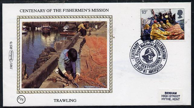 Great Britain 1981 Fishing Industry 18p (Trawling) on Benham small silk cover with special first day cancel