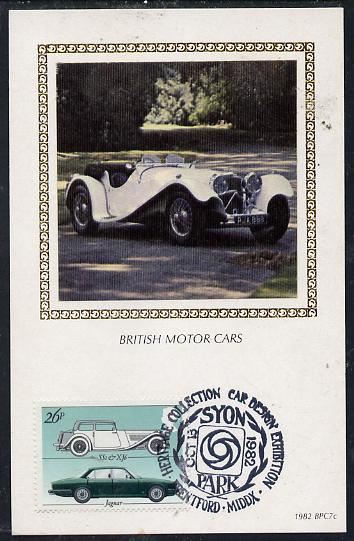 Great Britain 1982 British Motor Cars 26p (Jaguar) on Benham silk picture card with special first day cancel