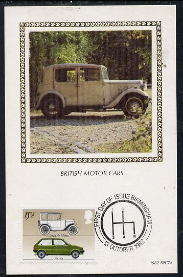 Great Britain 1982 British Motor Cars 15.5p (Austin) on Benham silk picture card with special first day cancel