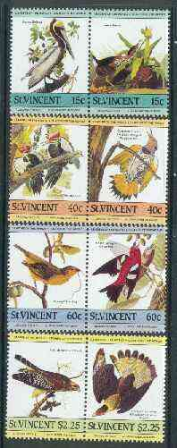 St Vincent 1985 John Audubon Birds (Leaders of the World) set of 8 unmounted mint SG 854-61
