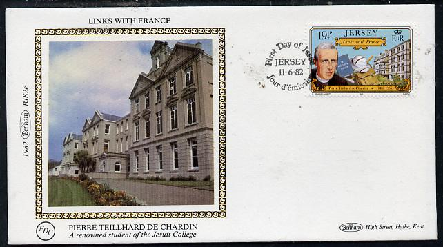 Jersey 1982 Links With France 19.5p (Pierre de Chardin) on Benham small silk cover with special first day cancel