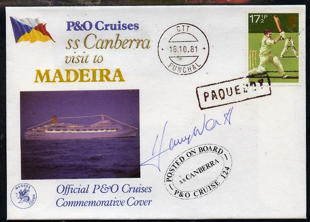 Great Britain 1981 P&O SS Canberra Cruise cover bearing Cricket 17.5p stamp cancelled PAQUEBOT and signed by Harry Worth