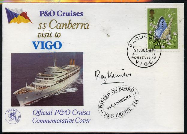 Great Britain 1981 P&O SS Canberra Cruise cover bearing Butterflies 18p stamp cancelled PAQUEBOT and signed by Roy Kinear