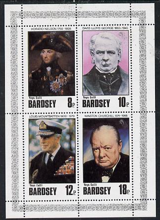 Bardsey (British Local) 1980 Famous People (Churchill, Nelson, Lloyd George & Mountbatten) set of 4 unmounted mint