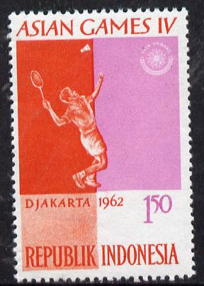 Indonesia 1962 Badminton 1r50 (from Asian Games set) unmounted mint SG 915