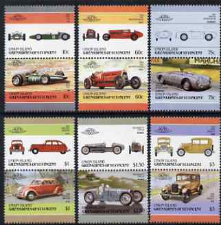 St Vincent - Union Island 1986 Cars #4 (Leaders of the World) set of 12 unmounted mint, stamps on cars    porsche    ford    brm     bugatti     fiat    chrysler