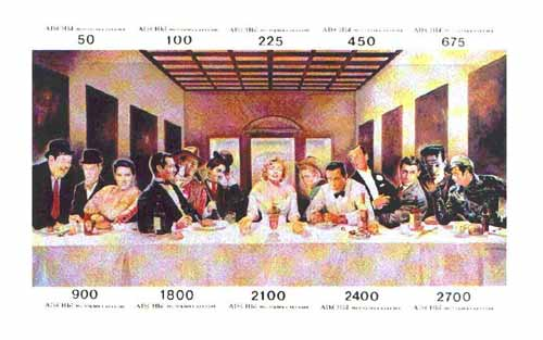 Abkhazia 1995 Anyone For Dinner composite imperf sheetlet of 10 values featuring Laurel & Hardy, Elvis, Clark Gable, John Wayne, Chaplin, Marilyn Monroe, James Dean, Bogg...