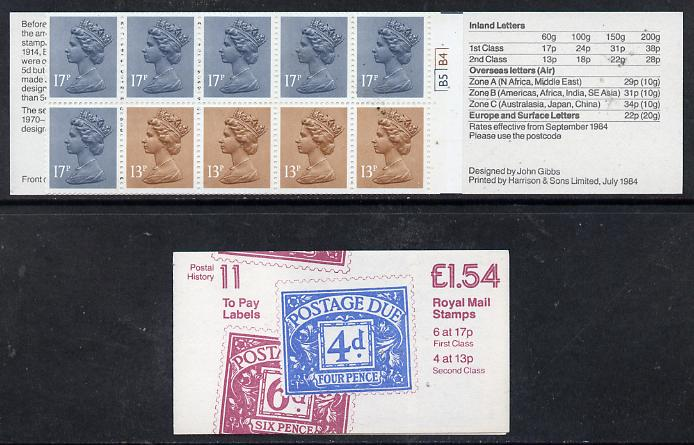 Booklet - Great Britain 1981-85 Postal History series #11 (Postage Due Stamps) \A31.54 booklet with cyl number in margin at left, SG FQ1A