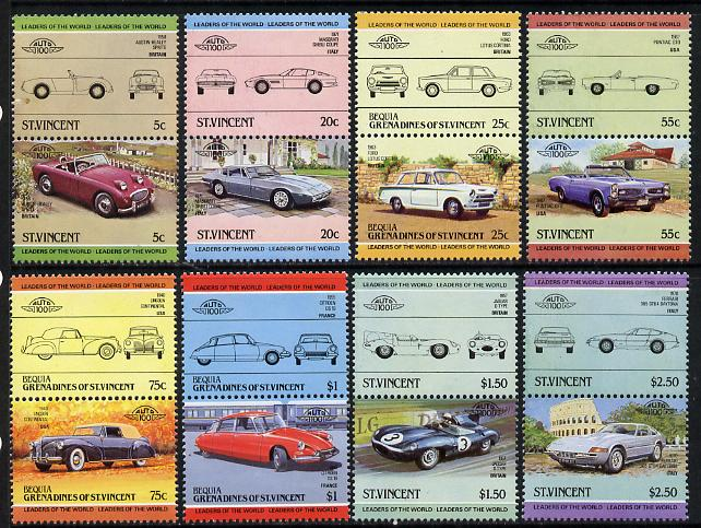 St Vincent - Bequia 1984 Cars #2 (Leaders of the World) set of 16 unmounted mint
