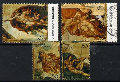 India 1975 500th Birth Anniversary of Michelangelo set of 4 commercially used, SG 769-72