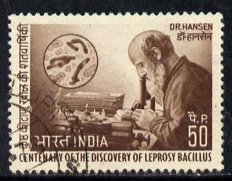 India 1973 Centenary of Discovery of Leprosy by Dr Hansen 50p value commercially used, SG 690