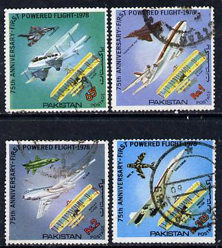 Pakistan 1978 75th Anniversary of Powered Flight set of 4 commercially used, SG 483-86