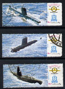 Pakistan 1989 Pakistan Navy Submarine Operations set of 3 commercially used, SG 763-65