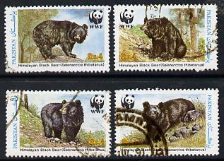 Pakistan 1989 WWF Wildlife Protection (16th Series) Black Bear set of 4 commercially used, SG 780-83
