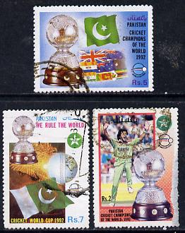Pakistan 1992 Victory in World Cup Cricket set of 3 commercially used, SG 861-63