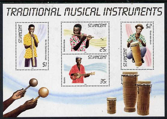 St Vincent 1985 Musical Instruments m/sheet containing set of 4 unmounted mint, SG MS 909