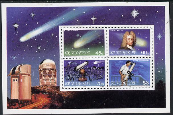 St Vincent 1986 Halley's Comet m/sheet containing set of 4 unmounted mint, SG MS 977