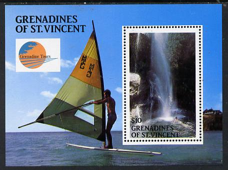 St Vincent - Grenadines 1988 Baleine Falls $10 m/sheet (also showing Wind Surfer) unmounted mint SG MS 563, stamps on waterfalls      sailing