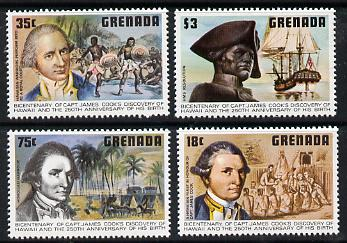 Grenada 1978 Birth Anniversary of Capt Cook set of 4 unmounted mint, SG 970-73*