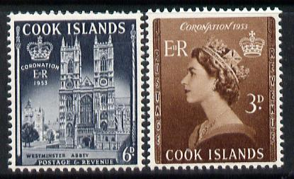 Cook Islands 1953 Coronation set of 2 unmounted mint, SG 160-61*