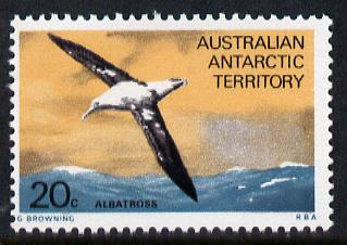 Australian Antarctic Territory 1973 Albatros 20c from Pictorial Def set unmounted mint, SG 29 (blocks or gutter pairs pro-rata)