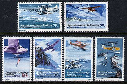 Australian Antarctic Territory 1973 the set of 6 aircraft from the Pictorial Def set, SG 24,26, 30-33,  (blocks or gutter pairs pro-rata) unmounted mint