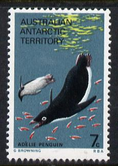 Australian Antarctic Territory 1973 Penguin 7c from the Pictorial Def set unmounted mint, SG 25 (blocks or gutter pairs pro-rata)