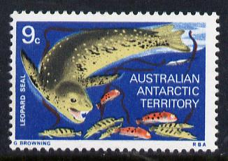 Australian Antarctic Territory 1973 Leopard Seal 9c from the Pictorial Def set, SG 27  (blocks or gutter pairs pro-rata) unmounted mint