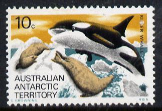 Australian Antarctic Territory 1973 Killer Whale 10c from the Pictorial Def set, SG 28  (blocks or gutter pairs pro-rata) unmounted mint