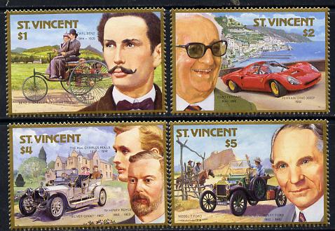 St Vincent 1987 Centenary of Motoring (with Designers) set of 4 unmounted mint SG 1085-88