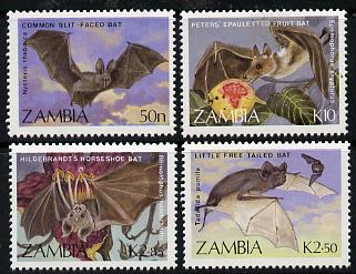 Zambia 1989 Bats perf set of 4 unmounted mint, SG 571-74*