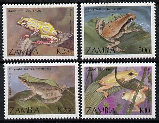 Zambia 1989 Frogs & Toads perf set of 4 unmounted mint, SG 567-70*