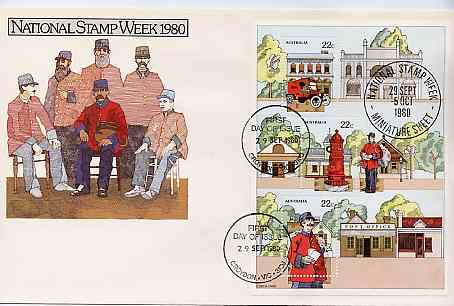 Australia 1980 National Stamp Week m/sheet on cover with first day cancels, SG MS 757