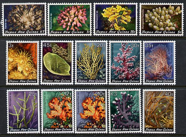 Papua New Guinea 1982-85 Corals complete set of 14 (1t to 3k) unmounted mint SG 438-51*