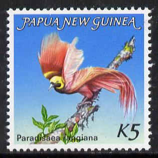 Papua New Guinea 1984 Bird of Paradise 5k (from 1983 def set) unmounted mint SG 452*