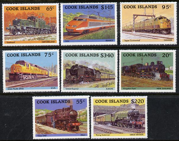 Cook Islands 1985 Famous Trains set of 8 unmounted mint, SG 1022-29*